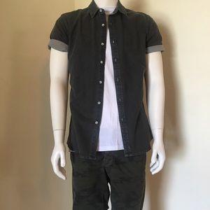53461f63b38 Topman Shirts - Topman Gray Muscle Fit Short Sleeve Denim Shirt